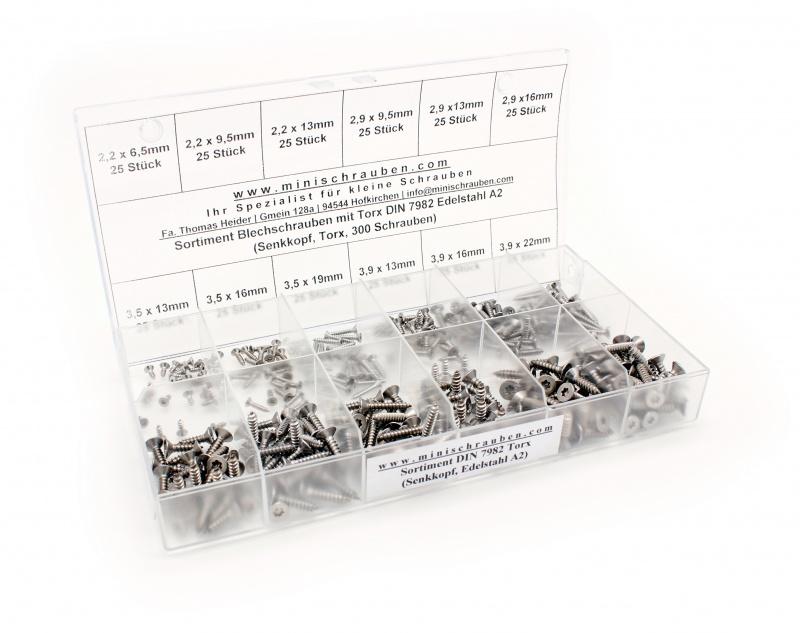 100 Stk DIN 7982 A2 C 4.2X13 TX20 Senkkopf-Blechschrauben TORX DIN 7982-A2